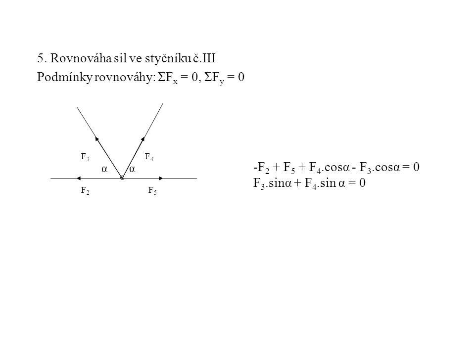 5. Rovnováha sil ve styčníku č.III Podmínky rovnováhy: ΣF x = 0, ΣF y = 0 F3F3 F2F2 F5F5 F4F4 -F 2 + F 5 + F 4.cosα - F 3.cosα = 0 F 3.sinα + F 4.sin
