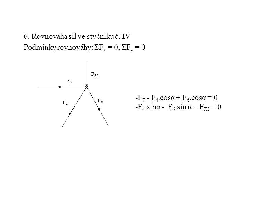 6. Rovnováha sil ve styčníku č. IV Podmínky rovnováhy: ΣF x = 0, ΣF y = 0 F4F4 F7F7 F Z2 F6F6 -F 7 - F 4.cosα + F 6.cosα = 0 -F 4.sinα - F 6.sin α – F