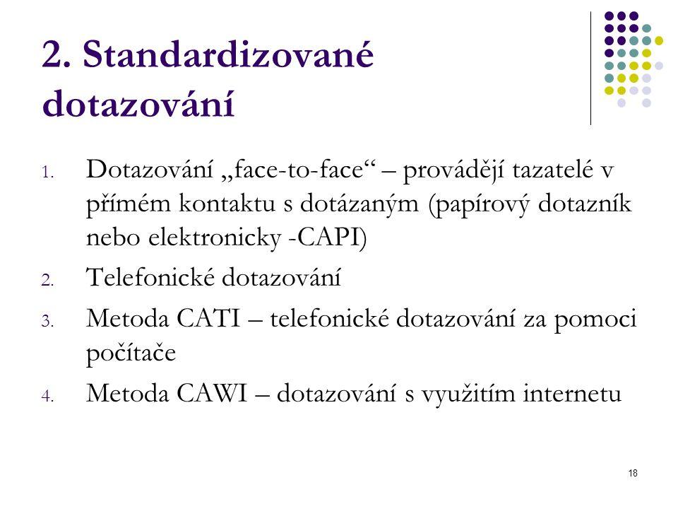 """18 2. Standardizované dotazování 1. Dotazování """"face-to-face"""" – provádějí tazatelé v přímém kontaktu s dotázaným (papírový dotazník nebo elektronicky"""