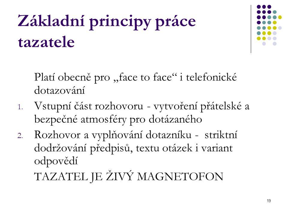 """19 Základní principy práce tazatele Platí obecně pro """"face to face"""" i telefonické dotazování 1. Vstupní část rozhovoru - vytvoření přátelské a bezpečn"""