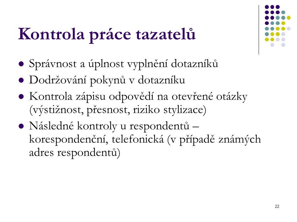 22 Kontrola práce tazatelů Správnost a úplnost vyplnění dotazníků Dodržování pokynů v dotazníku Kontrola zápisu odpovědí na otevřené otázky (výstižnos