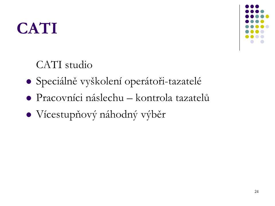 24 CATI CATI studio Speciálně vyškolení operátoři-tazatelé Pracovníci náslechu – kontrola tazatelů Vícestupňový náhodný výběr