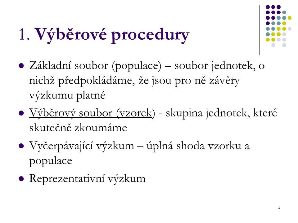 3 1. Výběrové procedury Základní soubor (populace) – soubor jednotek, o nichž předpokládáme, že jsou pro ně závěry výzkumu platné Výběrový soubor (vzo