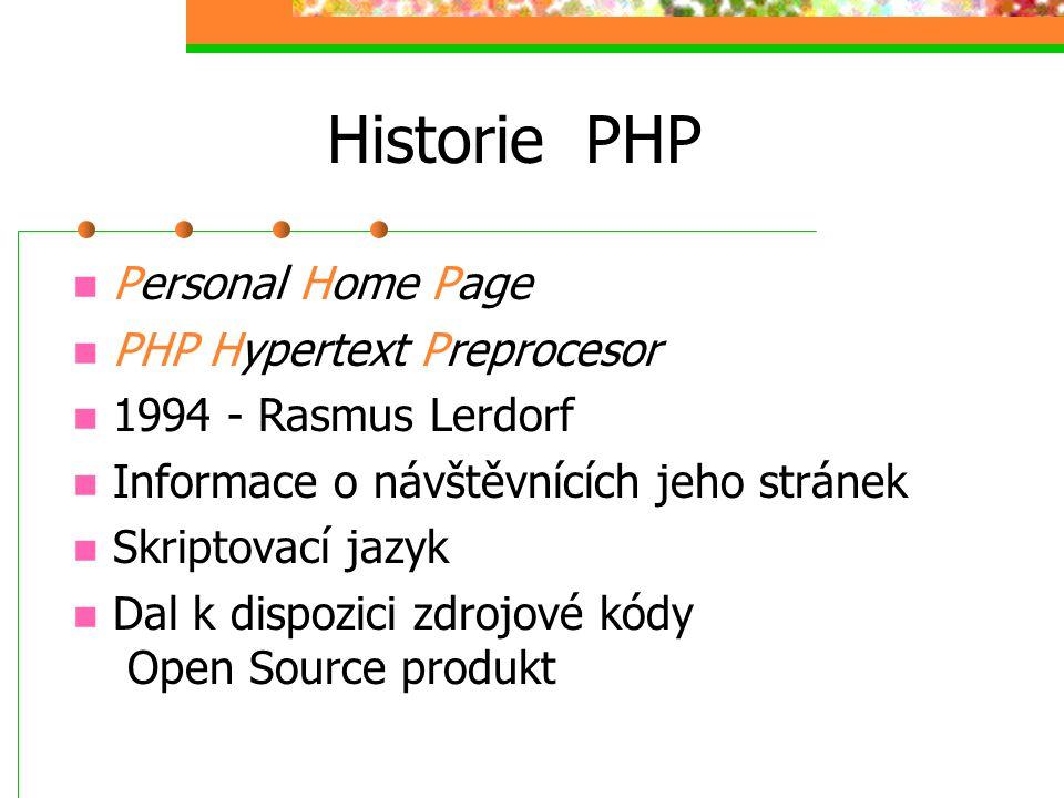 Historie PHP Personal Home Page PHP Hypertext Preprocesor 1994 - Rasmus Lerdorf Informace o návštěvnících jeho stránek Skriptovací jazyk Dal k dispozi