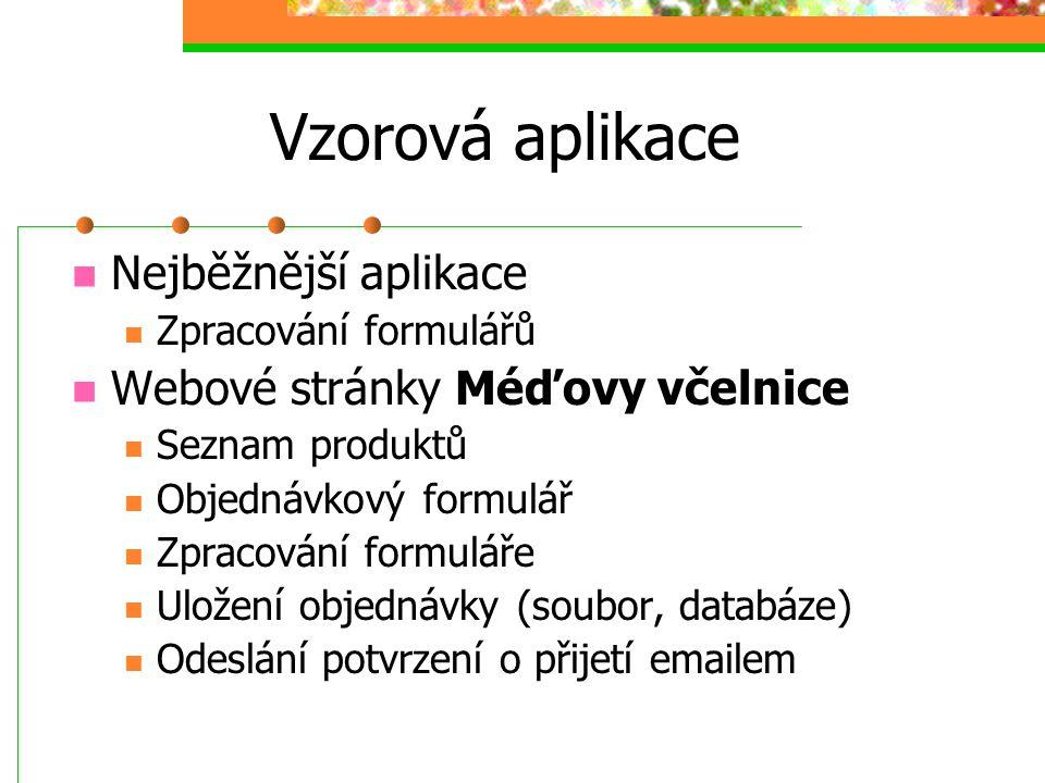 Vzorová aplikace Nejběžnější aplikace Zpracování formulářů Webové stránky Méďovy včelnice Seznam produktů Objednávkový formulář Zpracování formuláře U