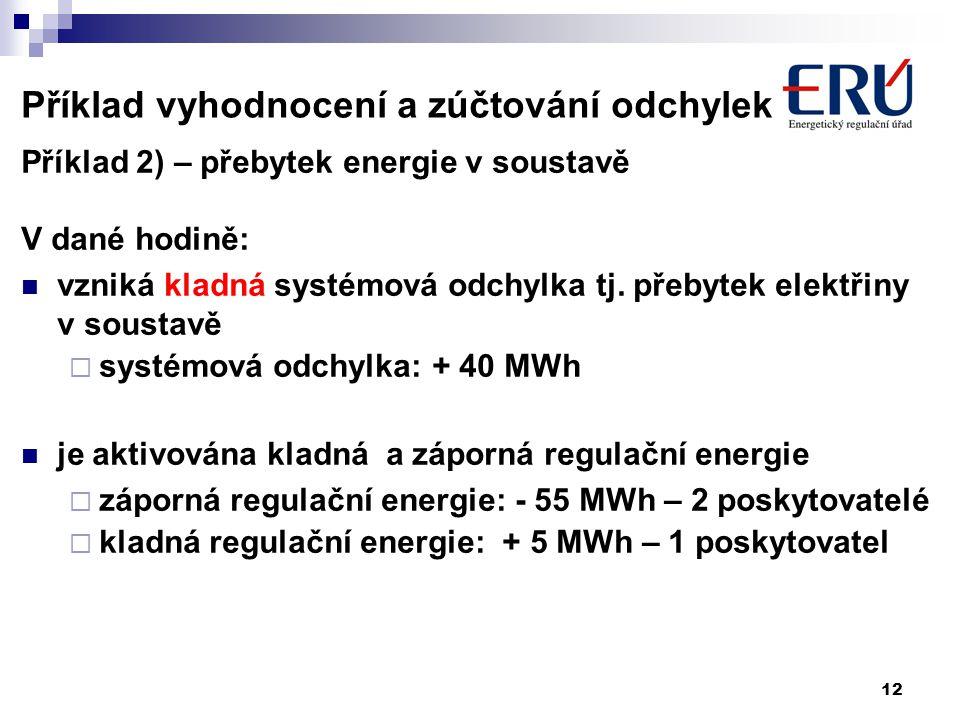 12 Příklad vyhodnocení a zúčtování odchylek Příklad 2) – přebytek energie v soustavě V dané hodině: vzniká kladná systémová odchylka tj.