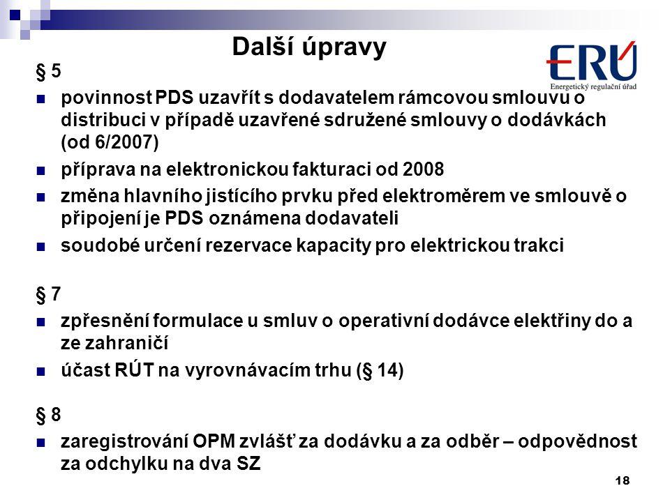 18 Další úpravy § 5 povinnost PDS uzavřít s dodavatelem rámcovou smlouvu o distribuci v případě uzavřené sdružené smlouvy o dodávkách (od 6/2007) příprava na elektronickou fakturaci od 2008 změna hlavního jistícího prvku před elektroměrem ve smlouvě o připojení je PDS oznámena dodavateli soudobé určení rezervace kapacity pro elektrickou trakci § 7 zpřesnění formulace u smluv o operativní dodávce elektřiny do a ze zahraničí účast RÚT na vyrovnávacím trhu (§ 14) § 8 zaregistrování OPM zvlášť za dodávku a za odběr – odpovědnost za odchylku na dva SZ