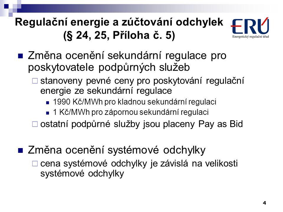4 Regulační energie a zúčtování odchylek (§ 24, 25, Příloha č.