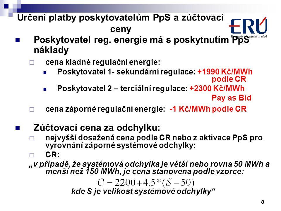 8 Určení platby poskytovatelům PpS a zúčtovací ceny Poskytovatel reg.
