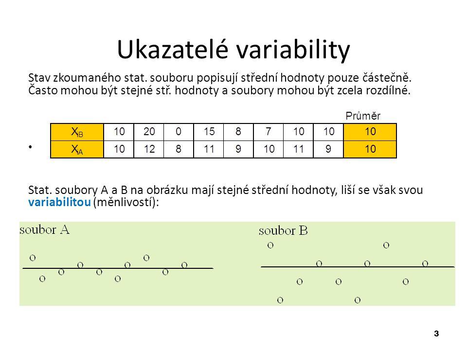 14 Variační koeficient Variační koeficient vyjadřuje vztah směrodatné odchylky k aritmetickému průměru v procentech (obdoba relativní průměrné odchylky): Př.: Vypočítejte směrodatnou odchylku a variační koeficient z výsledků příkladu o dvou střelcích