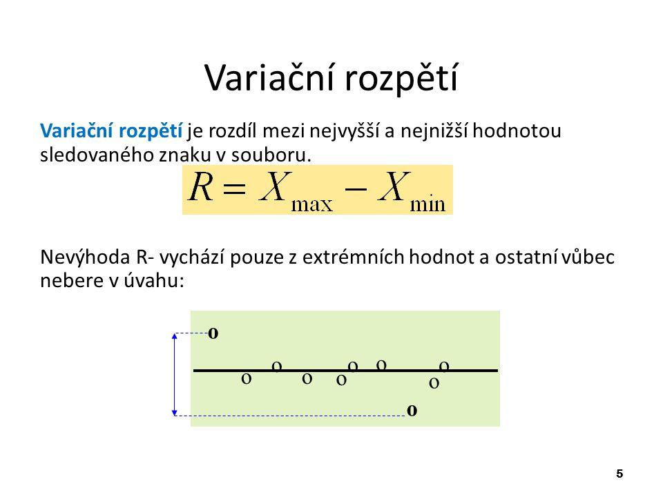 5 Variační rozpětí Variační rozpětí je rozdíl mezi nejvyšší a nejnižší hodnotou sledovaného znaku v souboru.