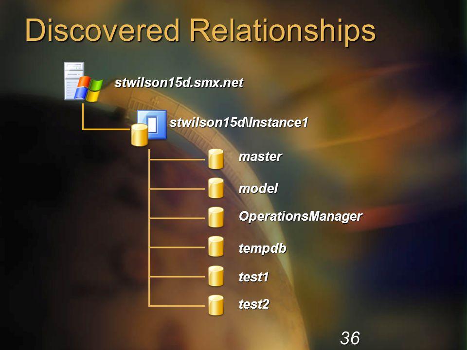 Discovered Relationships stwilson15d\Instance1 master model OperationsManager tempdb test1 test2 stwilson15d.smx.net 36