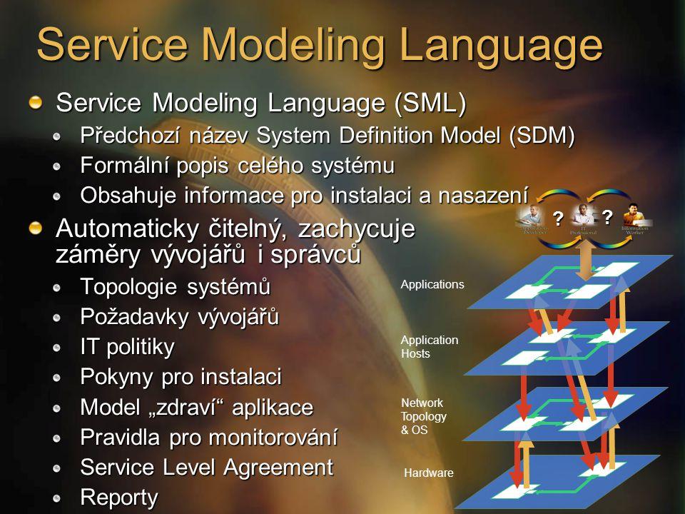 """Applications Application Hosts Network Topology & OS Hardware Service Modeling Language (SML) Předchozí název System Definition Model (SDM) Formální popis celého systému Obsahuje informace pro instalaci a nasazení Automaticky čitelný, zachycuje záměry vývojářů i správců Topologie systémů Požadavky vývojářů IT politiky Pokyny pro instalaci Model """"zdraví aplikace Pravidla pro monitorování Service Level Agreement Reporty ."""
