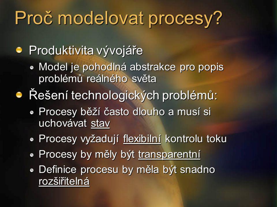 Proč modelovat procesy? Produktivita vývojáře Model je pohodlná abstrakce pro popis problémů reálného světa Řešení technologických problémů: Procesy b