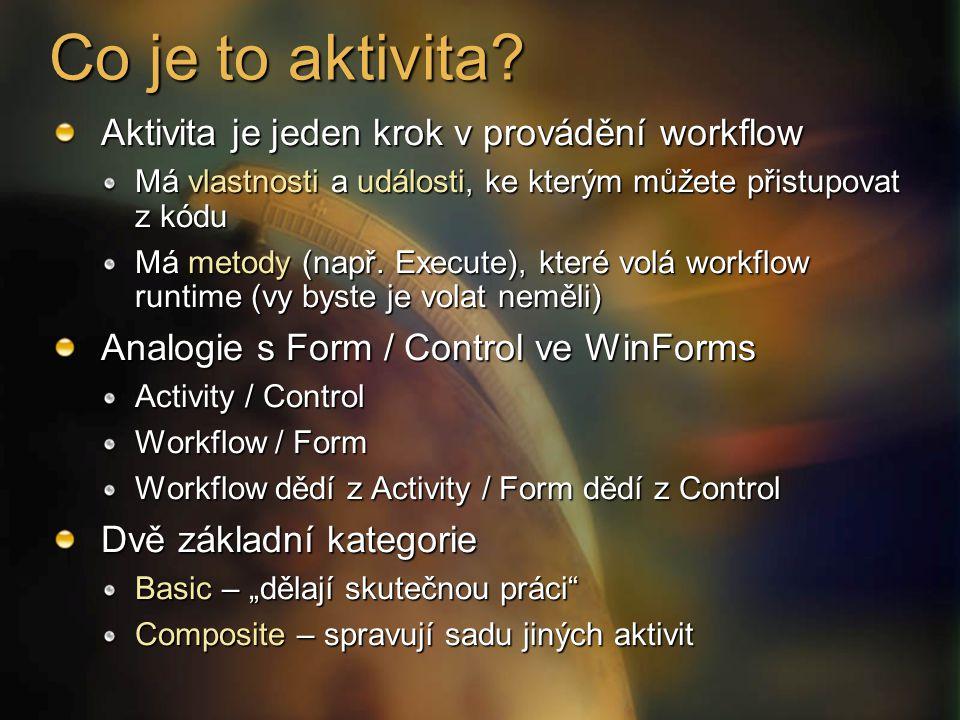 Co je to aktivita? Aktivita je jeden krok v provádění workflow Má vlastnosti a události, ke kterým můžete přistupovat z kódu Má metody (např. Execute)