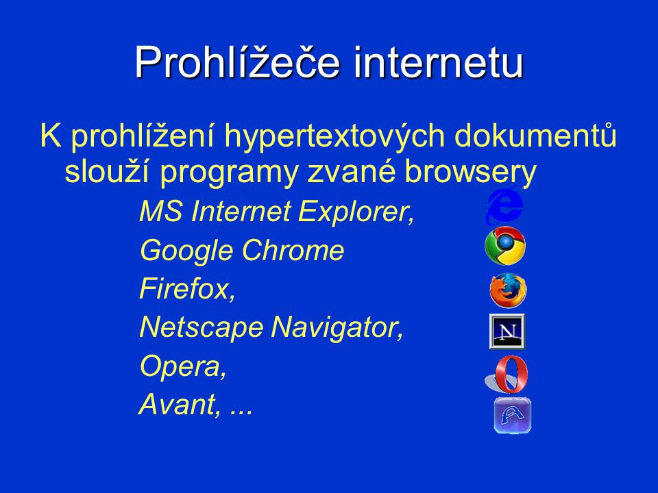 Prohlížeče internetu K prohlížení hypertextových dokumentů slouží programy zvané browsery MS Internet Explorer, Google Chrome Firefox, Netscape Naviga