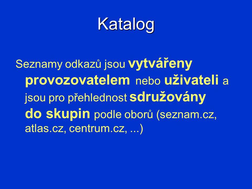 Katalog Seznamy odkazů jsou vytvářeny provozovatelem nebo uživateli a jsou pro přehlednost sdružovány do skupin podle oborů (seznam.cz, atlas.cz, cent