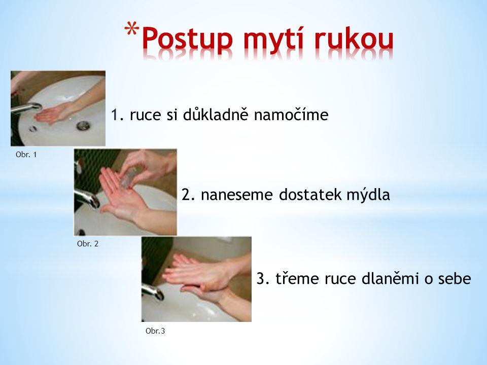 1. ruce si důkladně namočíme 2. naneseme dostatek mýdla 3.