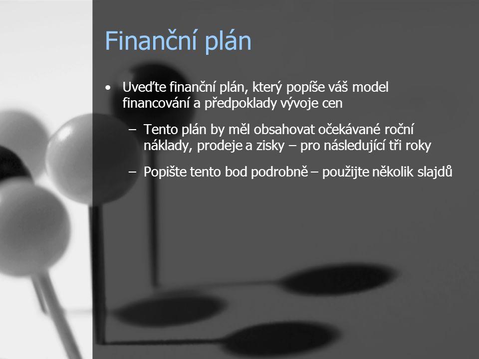 Finanční plán Uveďte finanční plán, který popíše váš model financování a předpoklady vývoje cen –Tento plán by měl obsahovat očekávané roční náklady,