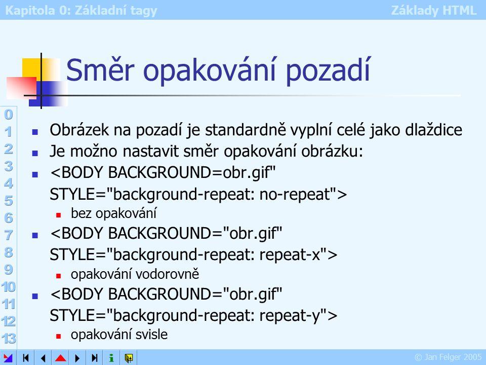 Kapitola 0: Základní tagy Základy HTML © Jan Felger 2005 Směr opakování pozadí Obrázek na pozadí je standardně vyplní celé jako dlaždice Je možno nastavit směr opakování obrázku: <BODY BACKGROUND=obr.gif STYLE= background-repeat: no-repeat > bez opakování <BODY BACKGROUND= obr.gif STYLE= background-repeat: repeat-x > opakování vodorovně <BODY BACKGROUND= obr.gif STYLE= background-repeat: repeat-y > opakování svisle