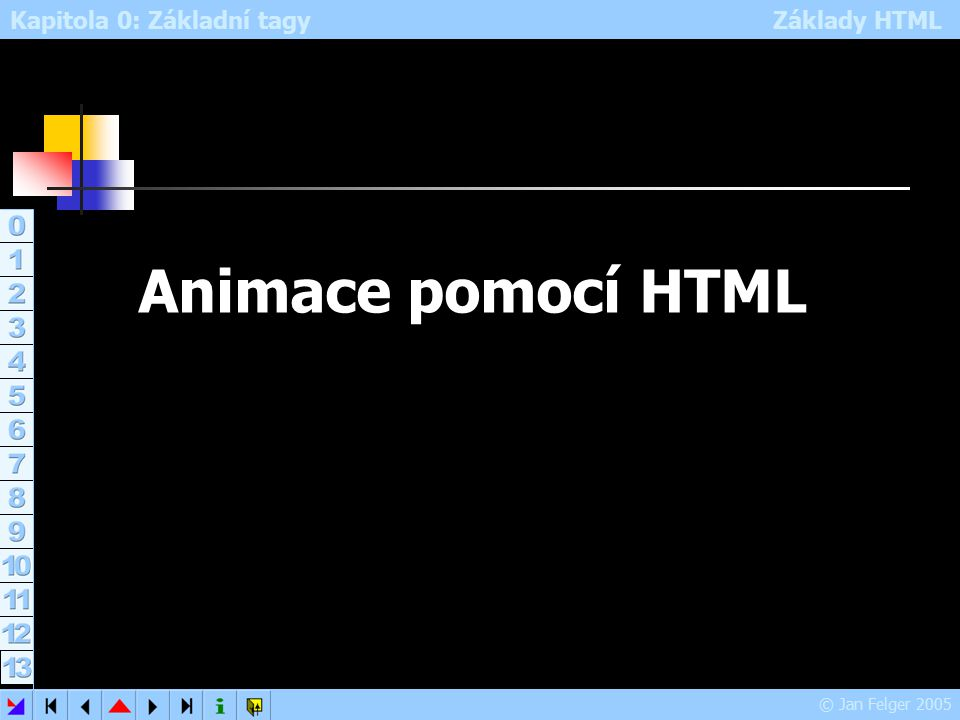Kapitola 0: Základní tagy Základy HTML © Jan Felger 2005 Animace pomocí HTML