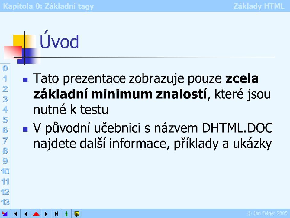 Kapitola 0: Základní tagy Základy HTML © Jan Felger 2005 11.4.2015 3 DHTML DHTML – dynamické HTML Standardní HTML zobrazuje v podstatě pouze statické informace výjimkou jsou vložené animace, videa a tag MARQUEE DHTM rozšiřuje tyto možnosti o interaktivitu a to včetně animací Tohoto cíle je dosahováno různými postupy a technikami: Java Script (dále jen JS) VB Script PHP Macromedia Flash aj.