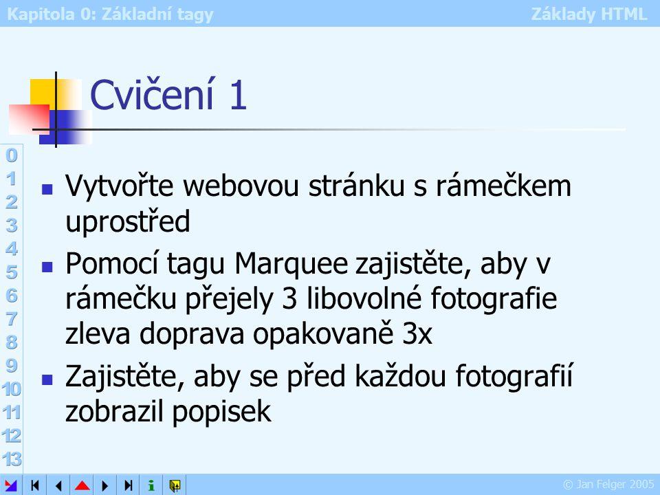 Kapitola 0: Základní tagy Základy HTML © Jan Felger 2005 Cvičení 1 Vytvořte webovou stránku s rámečkem uprostřed Pomocí tagu Marquee zajistěte, aby v rámečku přejely 3 libovolné fotografie zleva doprava opakovaně 3x Zajistěte, aby se před každou fotografií zobrazil popisek