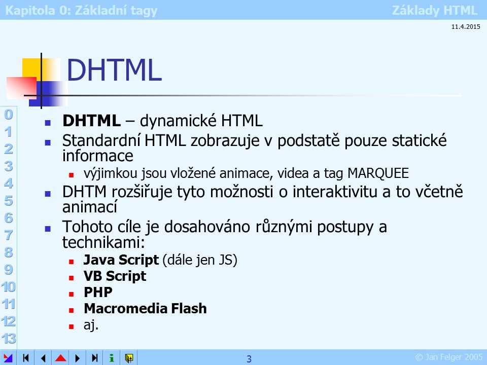Kapitola 0: Základní tagy Základy HTML © Jan Felger 2005 Nastavení okrajů stránky LEFTMARGIN – levý okraj TOPMARGIN – horní okraj RIGHTMARGIN – pravý okraj BOTTOMMARGIN – dolní okraj Vyzkoušejte si: