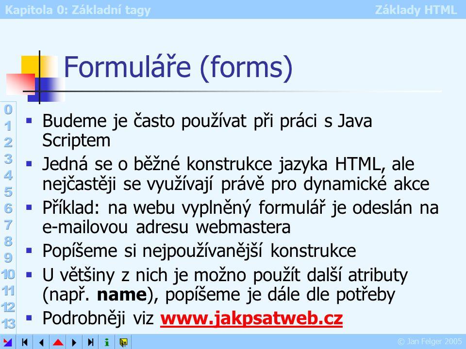 Kapitola 0: Základní tagy Základy HTML © Jan Felger 2005 Formuláře (forms)  Budeme je často používat při práci s Java Scriptem  Jedná se o běžné konstrukce jazyka HTML, ale nejčastěji se využívají právě pro dynamické akce  Příklad: na webu vyplněný formulář je odeslán na e-mailovou adresu webmastera  Popíšeme si nejpoužívanější konstrukce  U většiny z nich je možno použít další atributy (např.