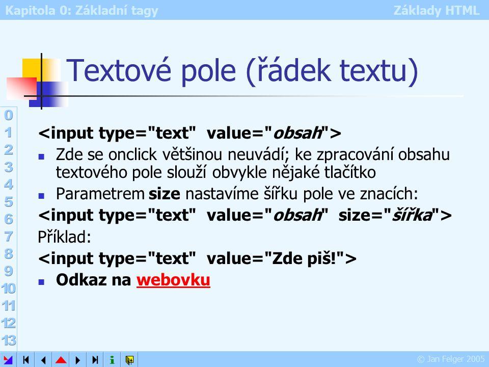 Kapitola 0: Základní tagy Základy HTML © Jan Felger 2005 Textové pole (řádek textu) Zde se onclick většinou neuvádí; ke zpracování obsahu textového pole slouží obvykle nějaké tlačítko Parametrem size nastavíme šířku pole ve znacích: Příklad: Odkaz na webovkuwebovku