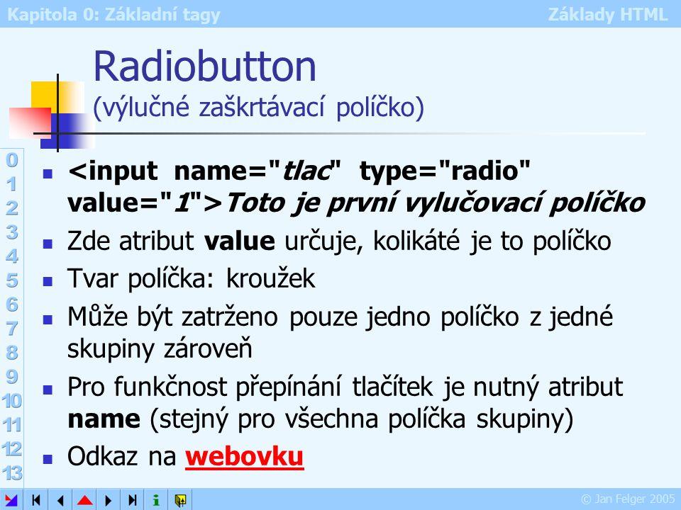 Kapitola 0: Základní tagy Základy HTML © Jan Felger 2005 Radiobutton (výlučné zaškrtávací políčko) Toto je první vylučovací políčko Zde atribut value určuje, kolikáté je to políčko Tvar políčka: kroužek Může být zatrženo pouze jedno políčko z jedné skupiny zároveň Pro funkčnost přepínání tlačítek je nutný atribut name (stejný pro všechna políčka skupiny) Odkaz na webovkuwebovku
