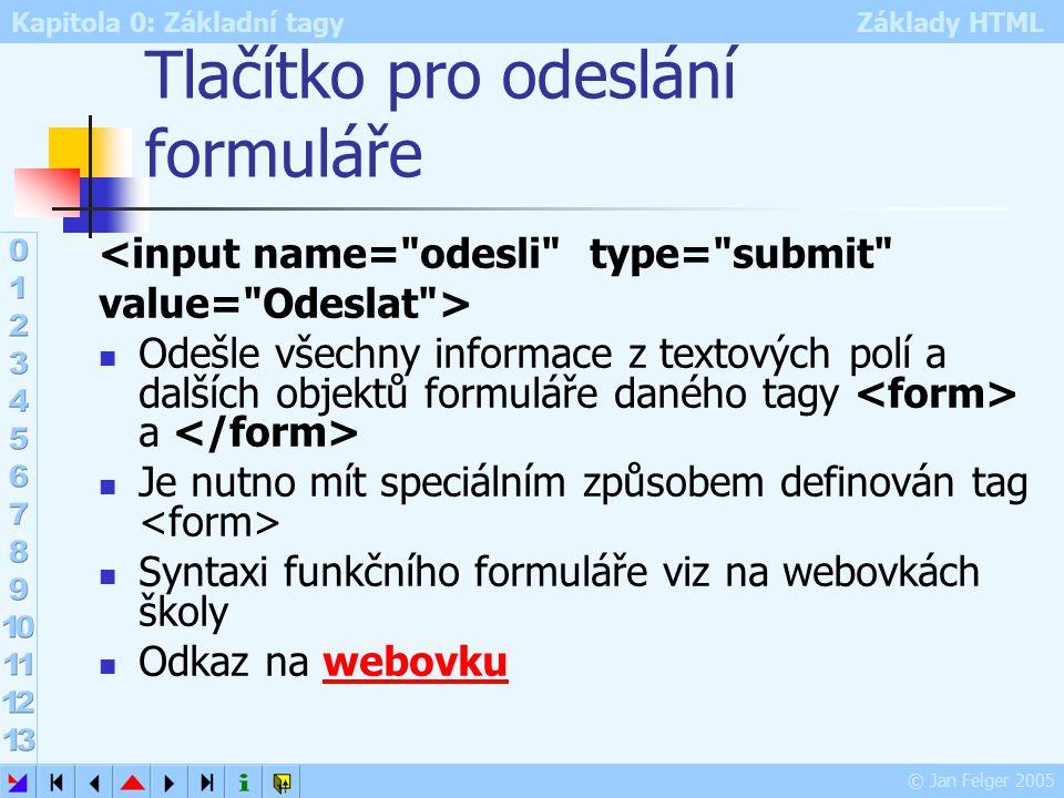 Kapitola 0: Základní tagy Základy HTML © Jan Felger 2005 Tlačítko pro odeslání formuláře <input name= odesli type= submit value= Odeslat > Odešle všechny informace z textových polí a dalších objektů formuláře daného tagy a Je nutno mít speciálním způsobem definován tag Syntaxi funkčního formuláře viz na webovkách školy Odkaz na webovkuwebovku