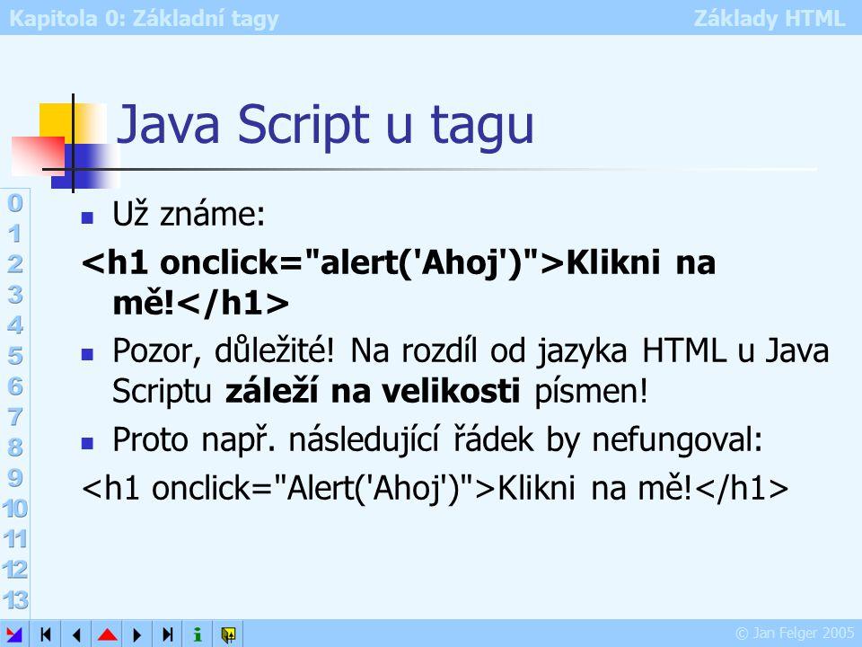 Kapitola 0: Základní tagy Základy HTML © Jan Felger 2005 Java Script u tagu Už známe: Klikni na mě.