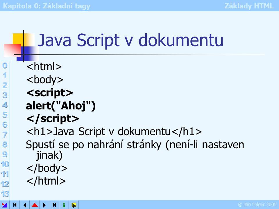 Kapitola 0: Základní tagy Základy HTML © Jan Felger 2005 Java Script v dokumentu alert( Ahoj ) Java Script v dokumentu Spustí se po nahrání stránky (není-li nastaven jinak)