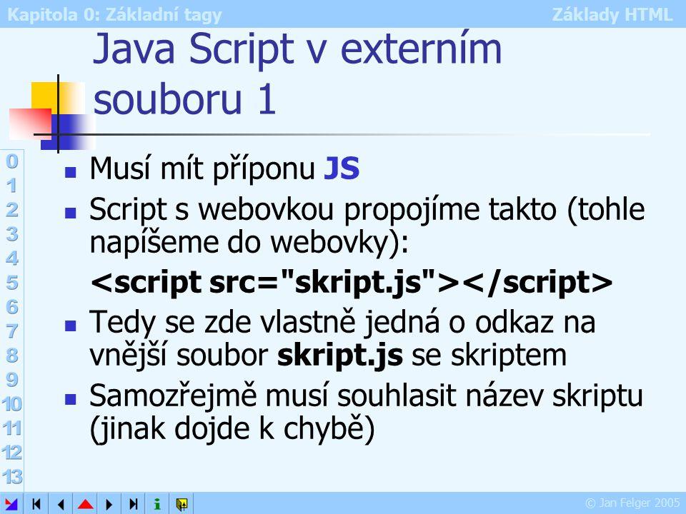 Kapitola 0: Základní tagy Základy HTML © Jan Felger 2005 Java Script v externím souboru 1 Musí mít příponu JS Script s webovkou propojíme takto (tohle napíšeme do webovky): Tedy se zde vlastně jedná o odkaz na vnější soubor skript.js se skriptem Samozřejmě musí souhlasit název skriptu (jinak dojde k chybě)