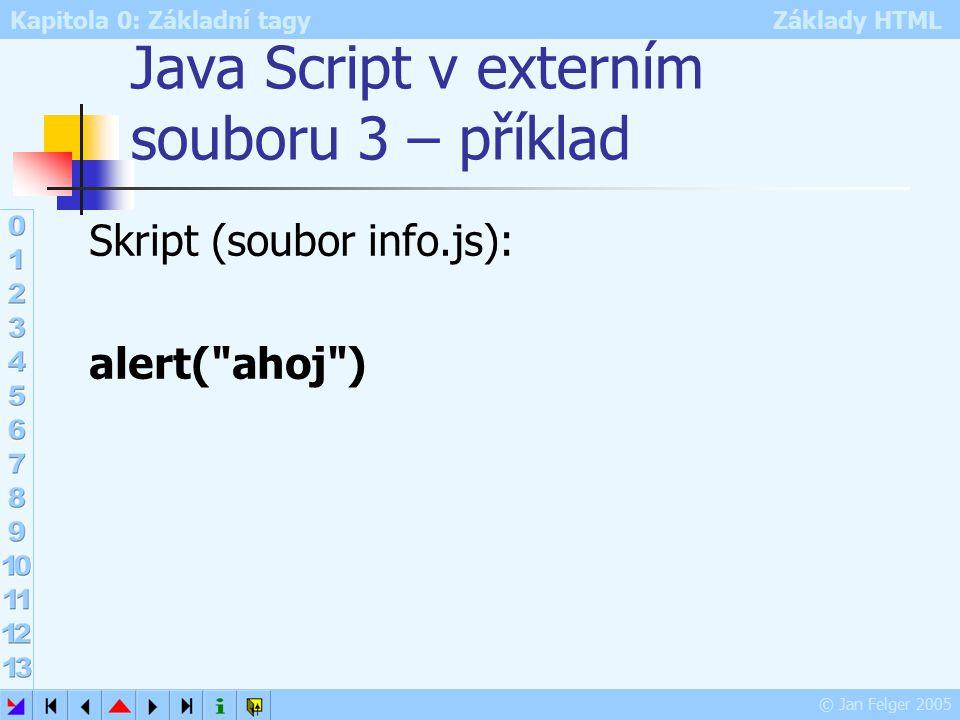 Kapitola 0: Základní tagy Základy HTML © Jan Felger 2005 Java Script v externím souboru 3 – příklad Skript (soubor info.js): alert( ahoj )
