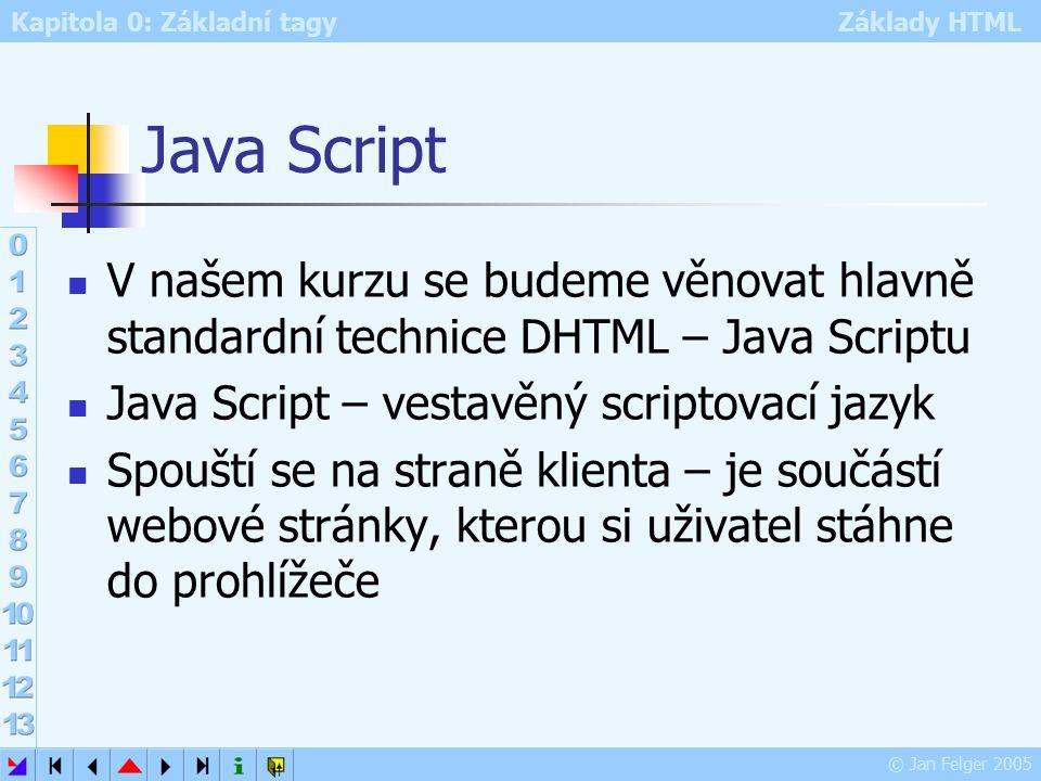 Kapitola 0: Základní tagy Základy HTML © Jan Felger 2005 Java Script V našem kurzu se budeme věnovat hlavně standardní technice DHTML – Java Scriptu Java Script – vestavěný scriptovací jazyk Spouští se na straně klienta – je součástí webové stránky, kterou si uživatel stáhne do prohlížeče