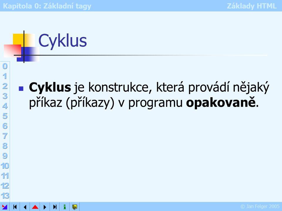Kapitola 0: Základní tagy Základy HTML © Jan Felger 2005 Cyklus Cyklus je konstrukce, která provádí nějaký příkaz (příkazy) v programu opakovaně.