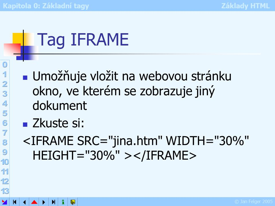 Kapitola 0: Základní tagy Základy HTML © Jan Felger 2005 Tag IFRAME Umožňuje vložit na webovou stránku okno, ve kterém se zobrazuje jiný dokument Zkuste si: