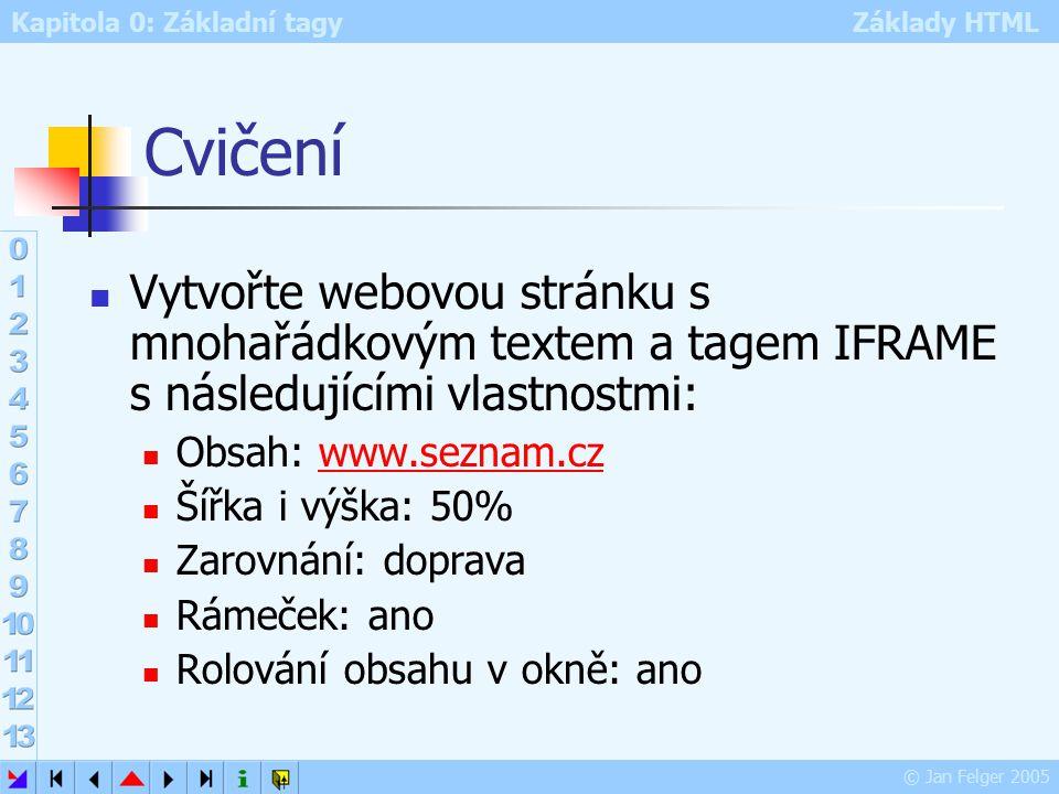 Kapitola 0: Základní tagy Základy HTML © Jan Felger 2005 Cvičení Vytvořte webovou stránku s mnohařádkovým textem a tagem IFRAME s následujícími vlastnostmi: Obsah: www.seznam.czwww.seznam.cz Šířka i výška: 50% Zarovnání: doprava Rámeček: ano Rolování obsahu v okně: ano