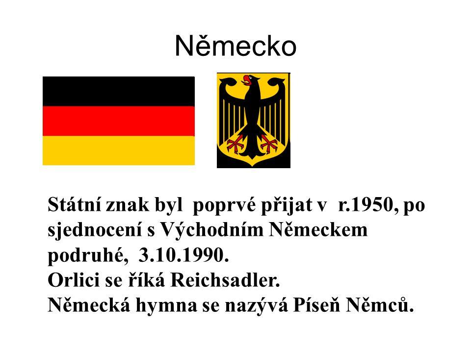 Státní znak byl poprvé přijat v r.1950, po sjednocení s Východním Německem podruhé, 3.10.1990.