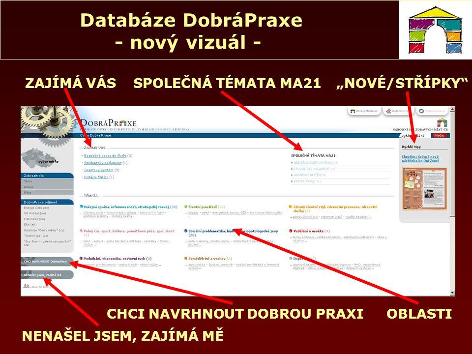 Databáze DobráPraxe - nový vizuál - Po kliknutí na jednu z oblastí se zobrazí všechny příklady, které sem patří, rozčleněné podle konkrétního tématu (číselník)