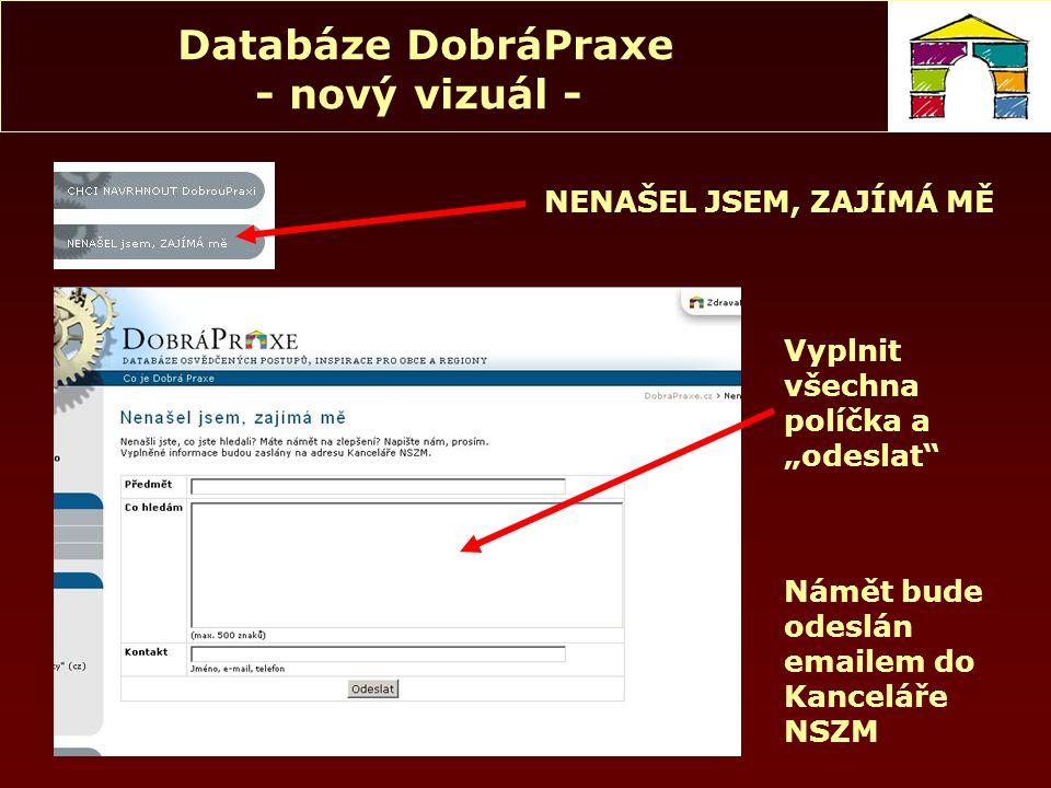 Databáze DobráPraxe - nový vizuál - CHCI NAVRHNOUT DOBROU PRAXI Pro přihlášení použijte Vaše jméno a heslo pro přístup do Terminálu