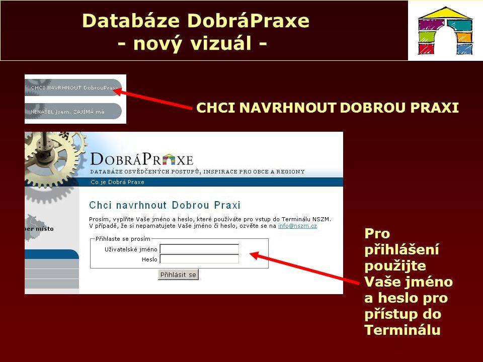 """Databáze DobráPraxe - nový vizuál - Chci navrhnout """"střípek – stručný příklad dobré praxe, rychlou inspiraci Námět bude odeslán emailem do Kanceláře NSZM a vyplněn Vyplnit všechna políčka a """"uložit návrh"""
