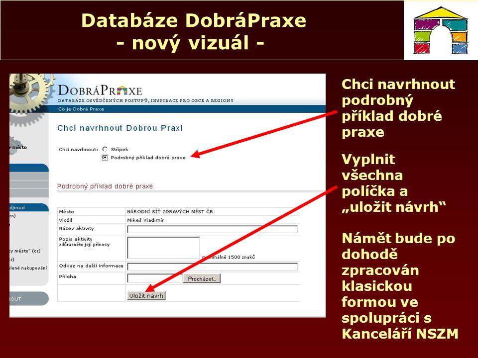 """Databáze DobráPraxe - nový vizuál - Chci navrhnout podrobný příklad dobré praxe Námět bude po dohodě zpracován klasickou formou ve spolupráci s Kanceláří NSZM Vyplnit všechna políčka a """"uložit návrh"""