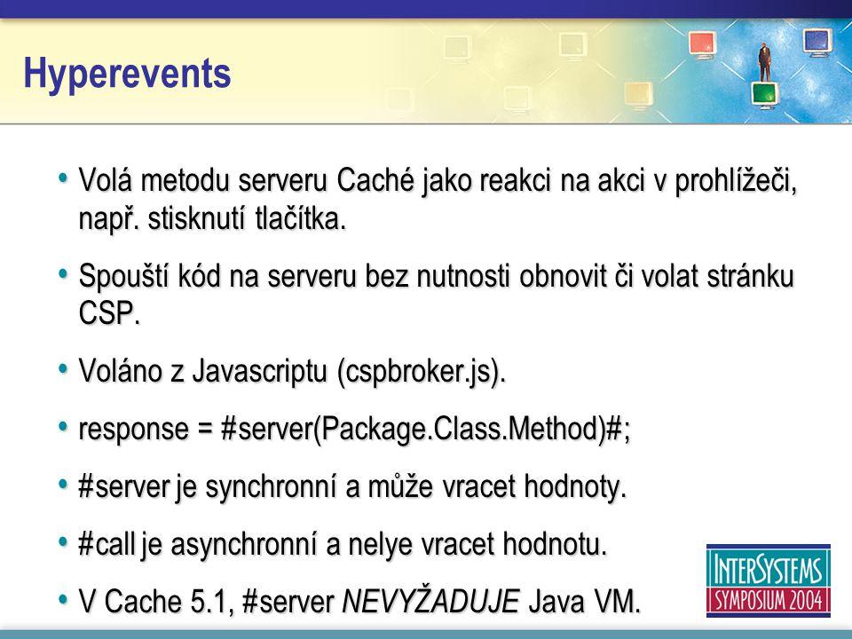 Hyperevents Volá metodu serveru Caché jako reakci na akci v prohlížeči, např.