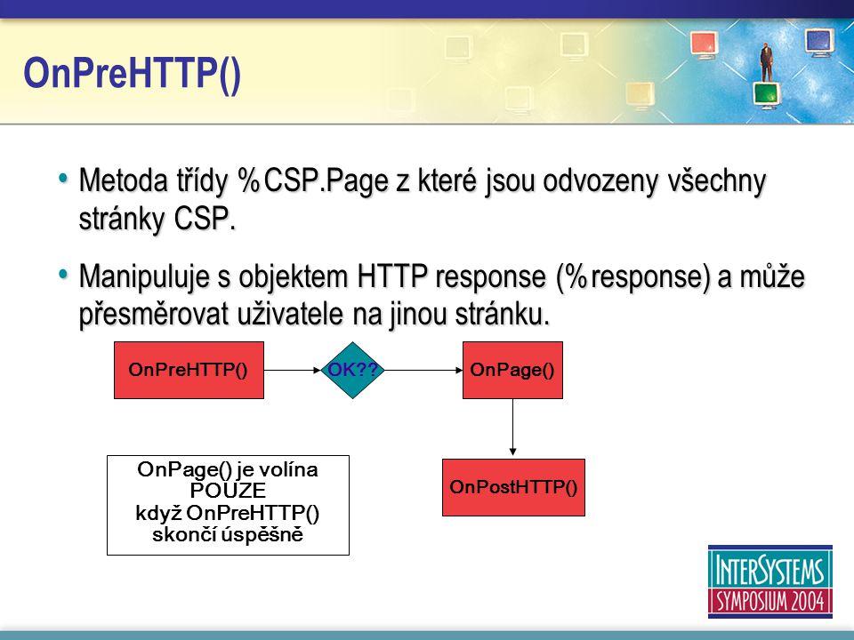 OnPreHTTP() Metoda třídy %CSP.Page z které jsou odvozeny všechny stránky CSP.