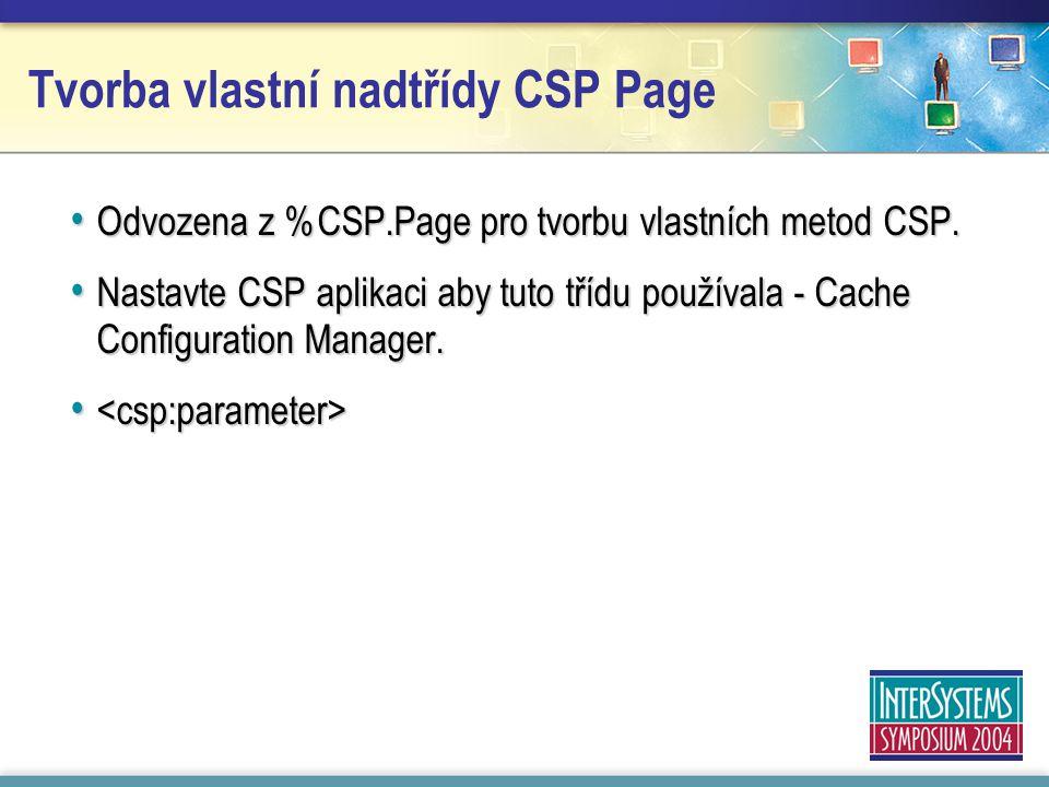 Tvorba vlastní nadtřídy CSP Page Odvozena z %CSP.Page pro tvorbu vlastních metod CSP.