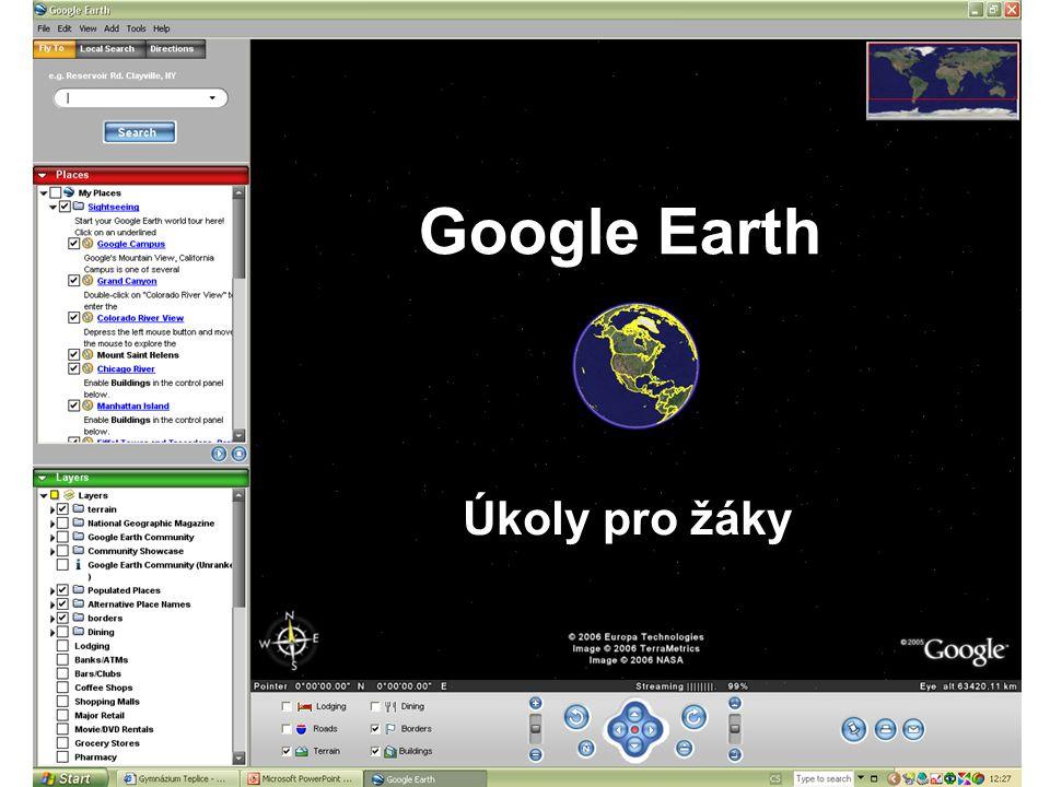 Google Earth Úkoly pro žáky