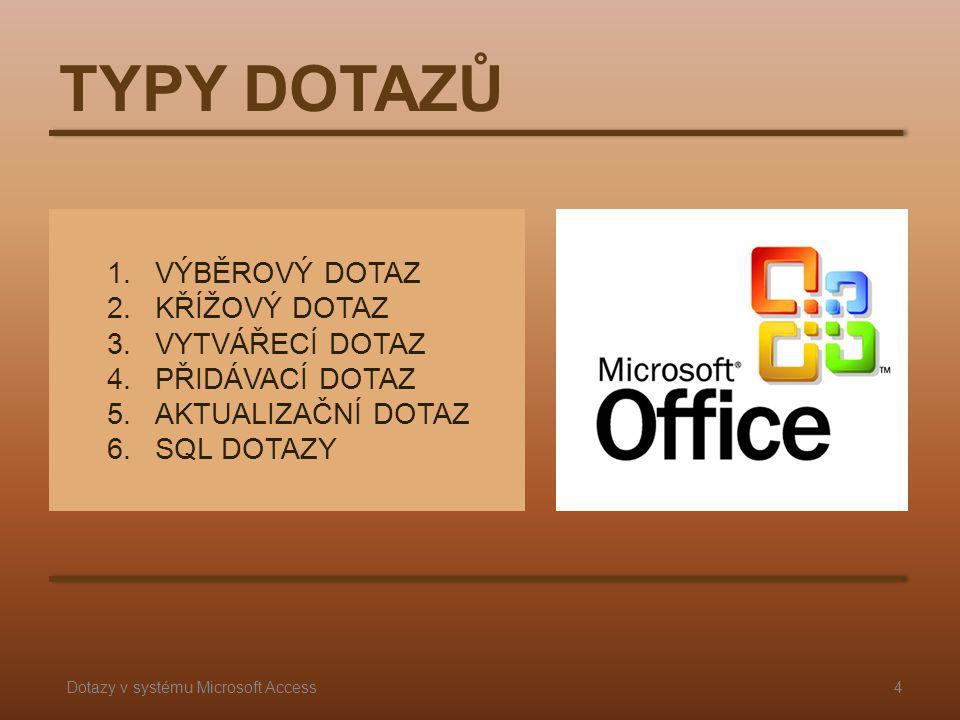 1.VÝBĚROVÝ DOTAZ 2.KŘÍŽOVÝ DOTAZ 3.VYTVÁŘECÍ DOTAZ 4.PŘIDÁVACÍ DOTAZ 5.AKTUALIZAČNÍ DOTAZ 6.SQL DOTAZY TYPY DOTAZŮ 4Dotazy v systému Microsoft Access